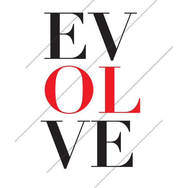 "Black And Red Typography ""Evolve"" Printable Art Print"