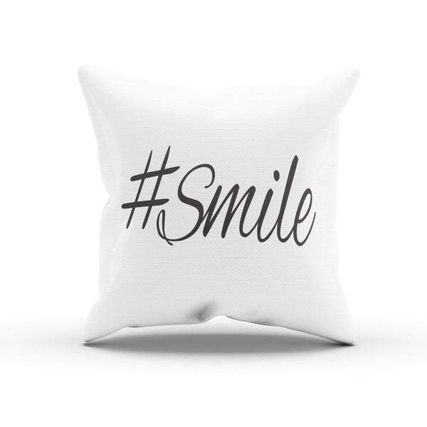 """Hashtag Smile"" Smile Quote Pillow Case For Bedroom"