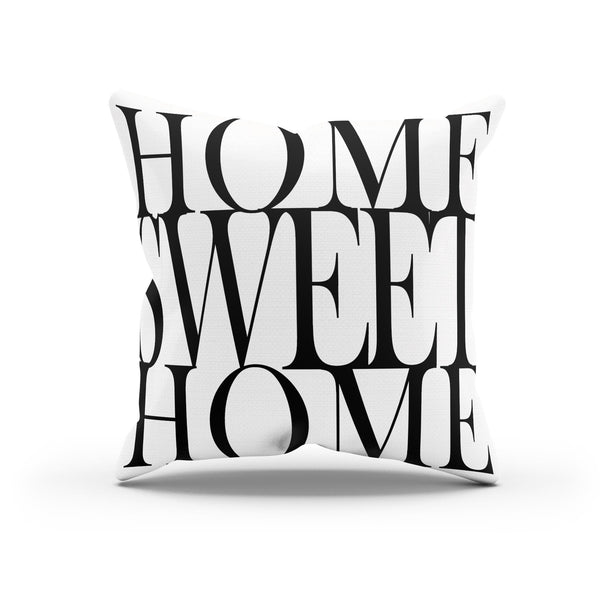 """Home Sweet Home"" Typographic Canvas Throw Pillow Cover By Raz Naim - DifferenType"