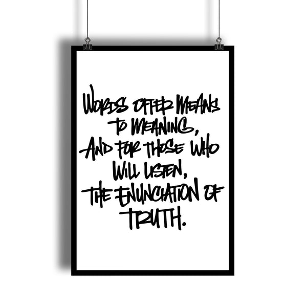 """Enunciating Truth"" V For Vendetta Movie Quote Art Print"