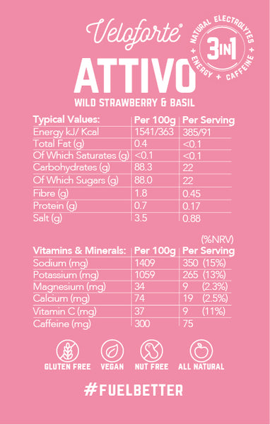 Veloforte Attivo | 100% Natural Hydration & Electrolytes | Nutritional Details
