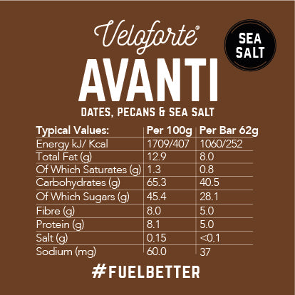 Veloforte Avanti | 100% natural vegan energy bar | nutritional information