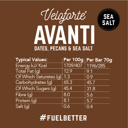 Veloforte | Avanti | Nutritional Details | 100% Natural Energy Bar | Salted