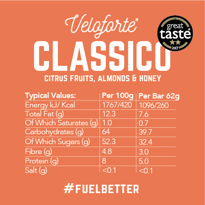 Veloforte Classico | 100% natural energy bar | nutritional information