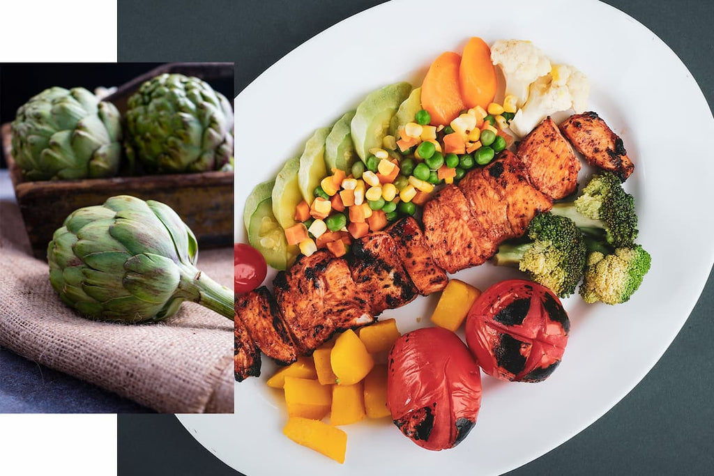 Healthy grilled meat and vegetables for crossfit nutrition