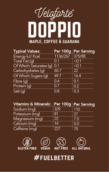 Veloforte Doppio | Natural Energy Gel | Nutritional Information