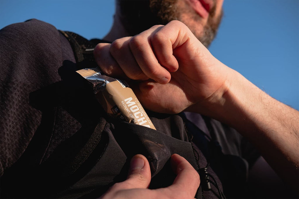 Protein bar in pocket for snack