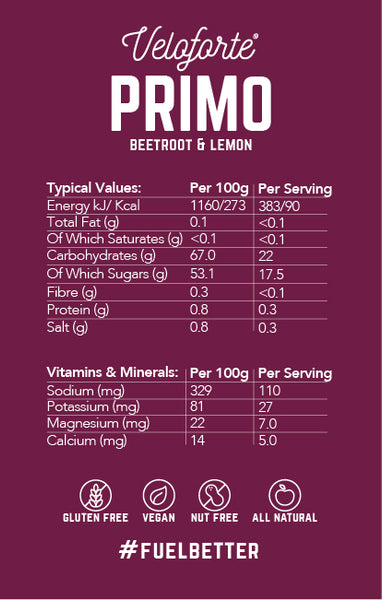Veloforte Primo | Natural Energy Gel | Nectar | Nutritional Information