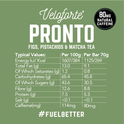 Veloforte Pronto | 100% natural vegan energy bar | nutritional information