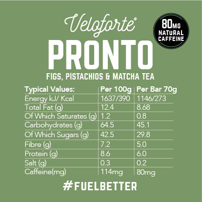 Veloforte | Pronto | Natural Energy Bar | Vegan | Caffeine | Increase Stamina | Running | Cycling | Nutritional Facts