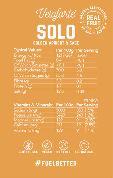 Veloforte Solo Electrolyte Mix - Nutritional Information