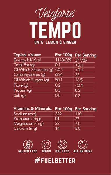Veloforte Tempo | Natural Energy Gel | Nectar | Nutritional Information