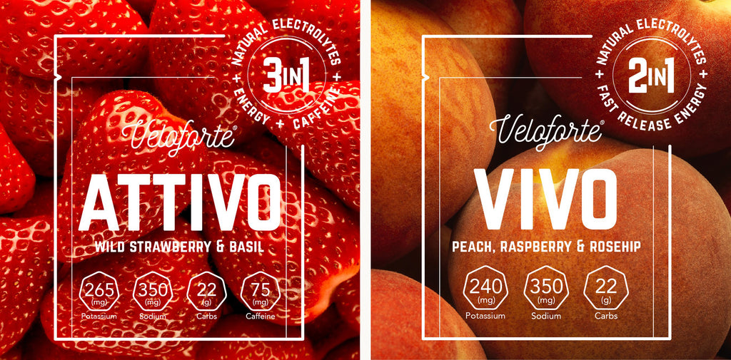 Side by side image of Veloforte Attivo & Vivo with strawberries and peaches background image
