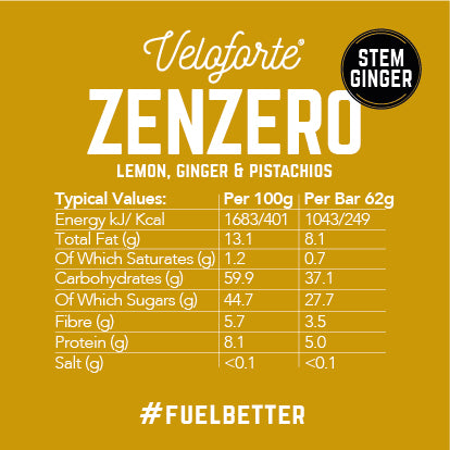 Veloforte Zenzero | 100% natural vegan energy bar | nutritional information