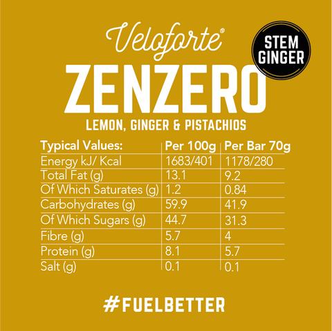 Veloforte | Zenzero | Nutritional Details | 100% natural energy