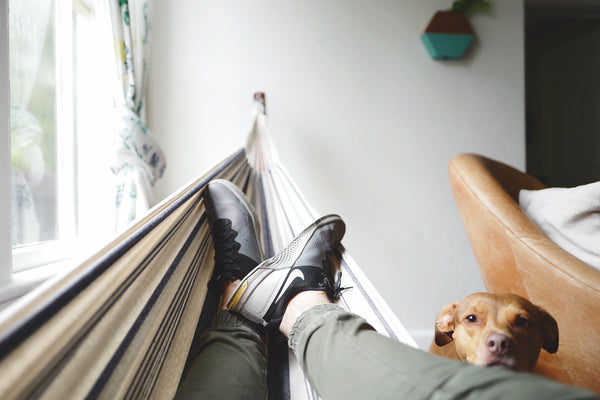 A runner is resting on a hammock at home.