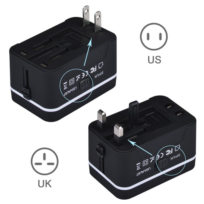 Travel Adapter, Universal International All-in-One Worldwide Travel Adaptor Wall Charger AC Power Plug Adapter Charger with Dual USB Port 2.4A For USA UK EU AUS