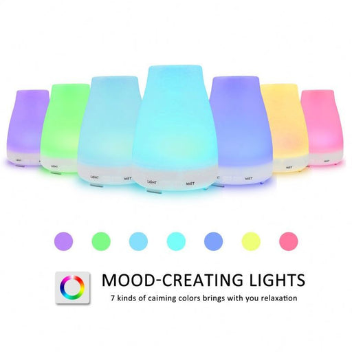 100ml Hollow design portable ultrasonic aromatherapy essential oil diffuser with Adjustable Mist Mode,Waterless Auto Shut-off and 7 Color LED Lights Changing for Home Office Baby