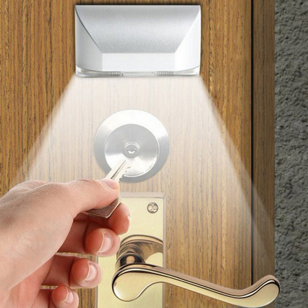 Keyhole Light Lamp PIR Infrared Wireless Auto Sensor Motion Detector Door Keyhole with 4 LED Light Lamp Stick-on Anywhere Tap Lights LED Night Light for Key Hole/Door Lock