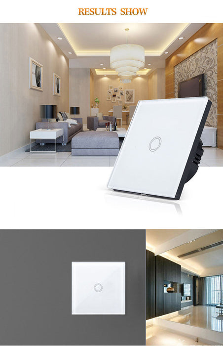 EU/UK Standard  Touch Switch 1 Gang 1 Way,Wall Light Touch Screen Switch,Crystal Glass Switch Panel