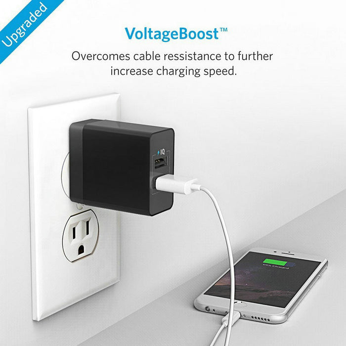 2-Port 24W USB Wall Charger PowerPort 2 with PowerIQ for iPhone 7 / 6s / Plus, iPad Air 2 / mini 3, Galaxy S Series, Note Series, LG, Nexus, HTC and More