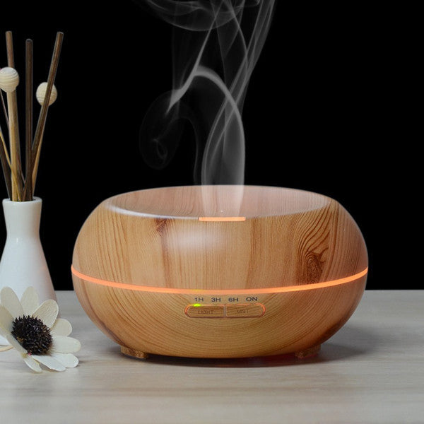 Aromatherapy Essential Oil Diffuser Ultrasonic Cool Mist Diffusers with 7 Color LED Lights Waterless Auto Shut-off, Wood Grain, 200 mL