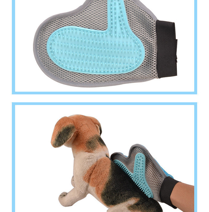 2-in-1 Pet Glove: Grooming Tool + Furniture Pet Hair Remover Mitt - For Cat & Dog - Long & Short Fur - Gentle Deshedding Brush - Rubber Tips for Massage - Soft Groomer Mitt - Your Pet Will Love It