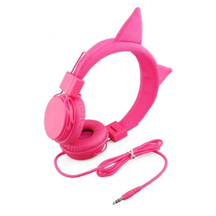 BoostCare Kids Headphones, Wired Over Ear Headphones with Cat Ears, 85dB Volume Limited, Food Grade Silicone, 3.5mm Jack , Pink