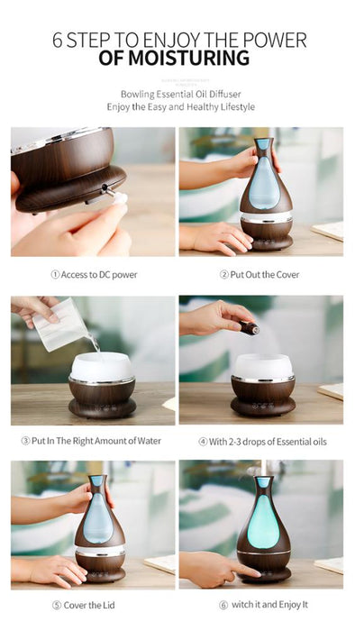 400ML Best Aromatherapy Aroma Ultrasonic Essential Oil Diffuser , aroma diffuser guarantee you a safe restful sleep.
