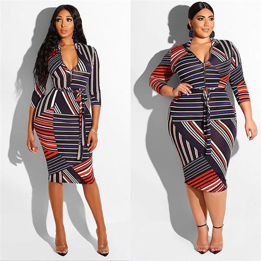 Colorful Custom Sexy Stripe Printed V Neck Womens Latest Ladies Dress