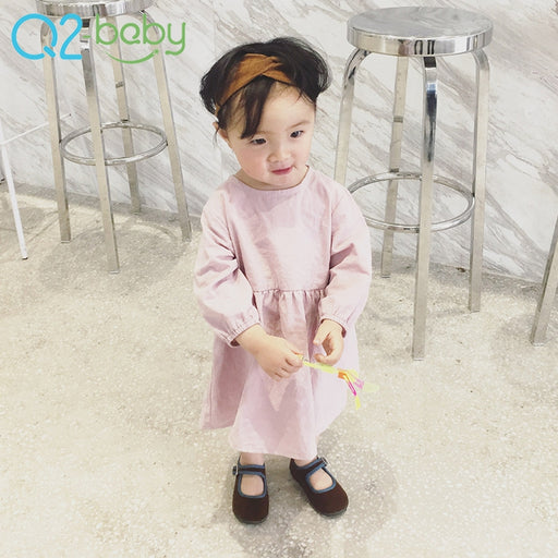 new girls baby cotton and linen solid color dress Princess Chao Fan spring baby solid color dress