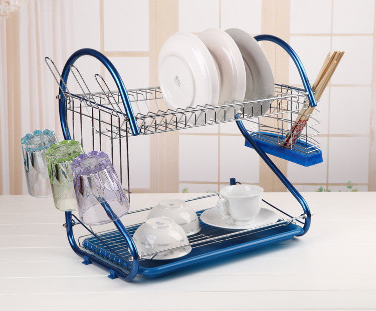 Stainless Steel 2 Tiers Kitchen Dish Cup Drying Rack Drainer Ship