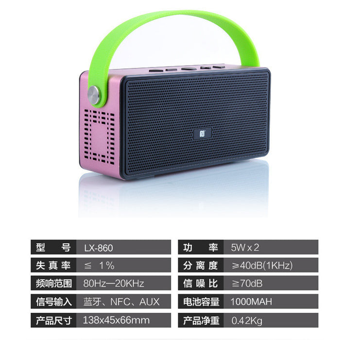 Bluetooth Wireless Speaker for 12 hrs Music Streaming & Hands-Free Calling w/ 6W + 6W 40mm Driver Speakerphone, Built-in Mic, 3.5mm Audio Port, Rechargeable Battery for Indoor & Outdoor Use