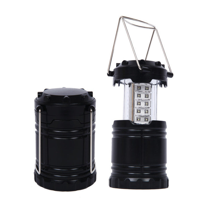 2 Pack Portable Outdoor LED Camping Lantern with 6 AA Batteries Black