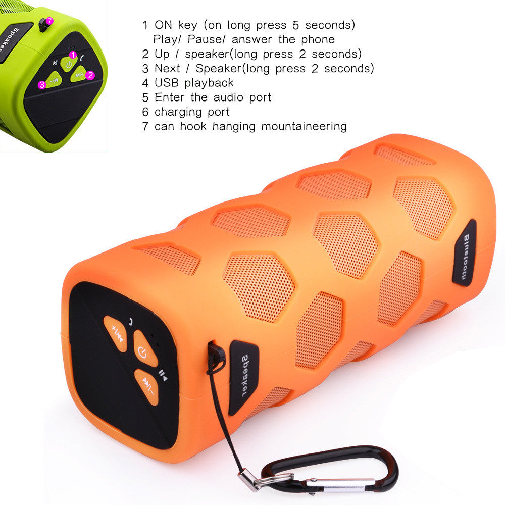 Waterproof Bluetooth Speaker Portable Rechargeable 12W Stereo Shockproof & Dustproof Wireless Speaker w/ Built-in Mic, Controls & Subwoofer for Bicycles, Smartphones & Computers