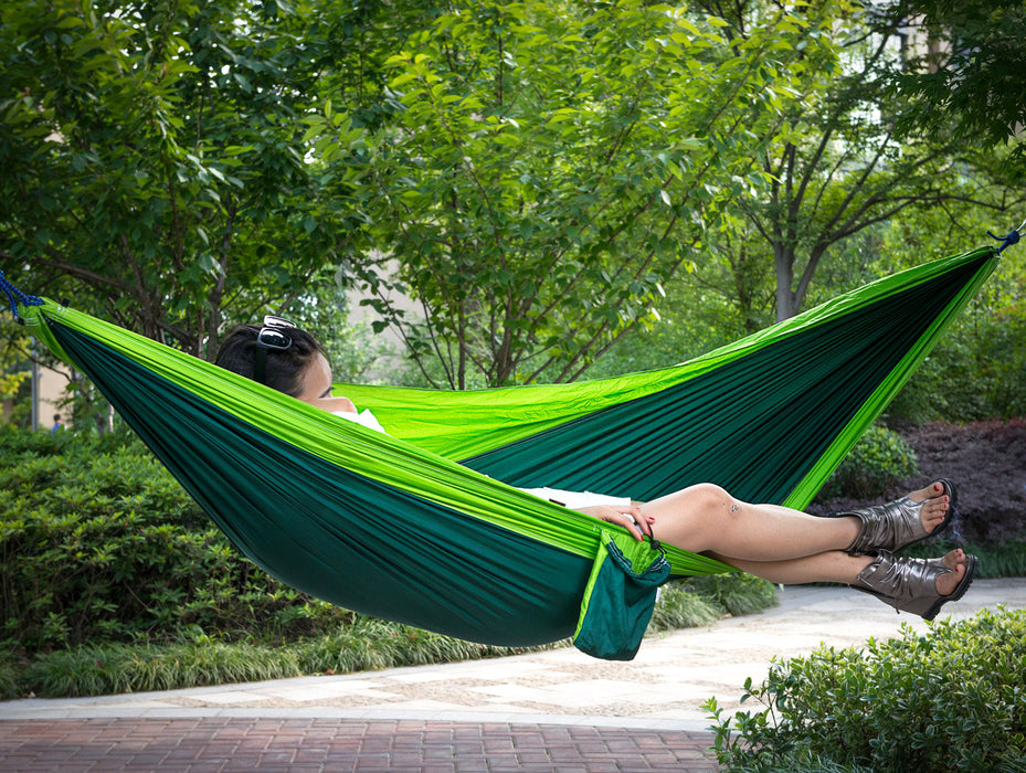 Hammock for Camping - Single & Double Hammocks - Top Rated Best Quality Gear For The Outdoors Backpacking Survival or Travel - Portable Lightweight Parachute Nylon