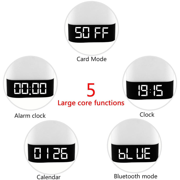 Portable Wireless Bluetooth 4.0 Speaker and LED Light Lamp Alarm Clock LED Table Lamp/Night Light/Bedside Lamp,Smart Touch LED Mood Lamp, MP3 Player, Supported Micro TF SD Card/USB/3.5mm AUX Jack
