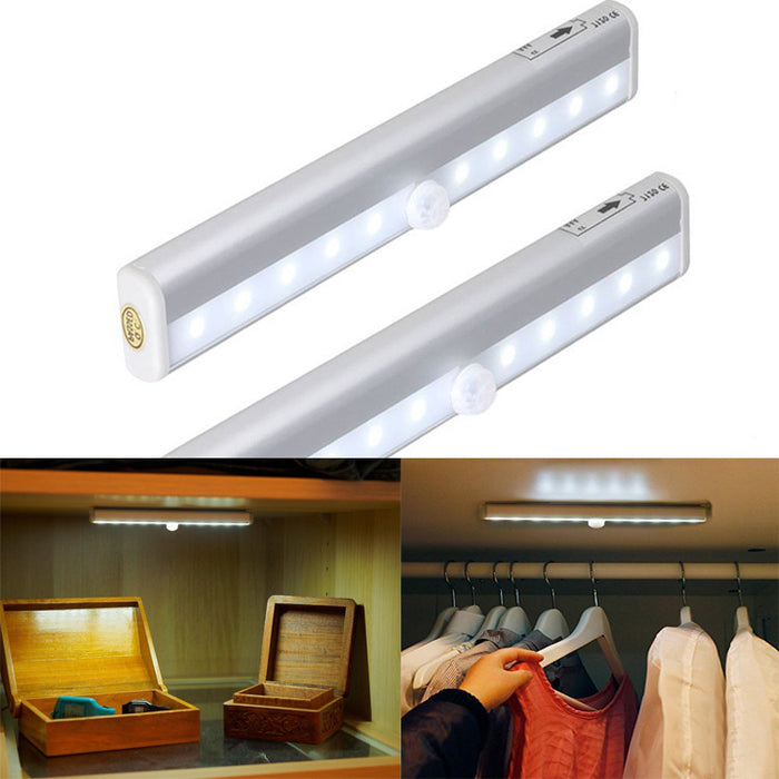 10 LED Motion Sensing Closet Lights, 3 Pack DIY Stick-on Anywhere Portable 10-LED Wireless Cabinet Night/ Stairs/ Step Light Bar with Magnetic Strip