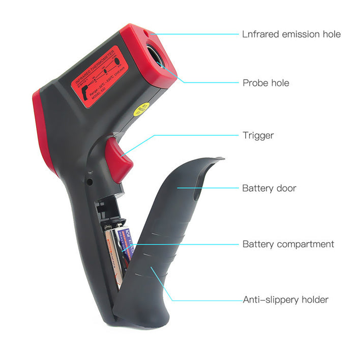 Non-Contact Digital Infrared Thermometer, IR Temperature Gun Laser Instant-read Maximum Measure For Kitchen Cooking Automotive