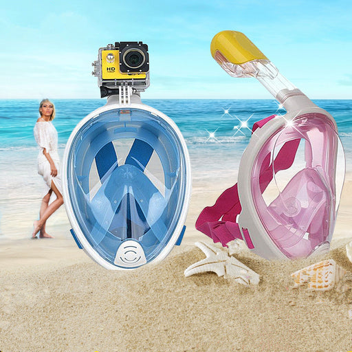 Full Face Snorkel Mask, Seaview 180° ,Full Face and anti-fog anti-leak Design For Snorkeling ,GoPro Compatible,longer Snorkeling Tube,See More With Larger Viewing Area Than Traditional Masks.