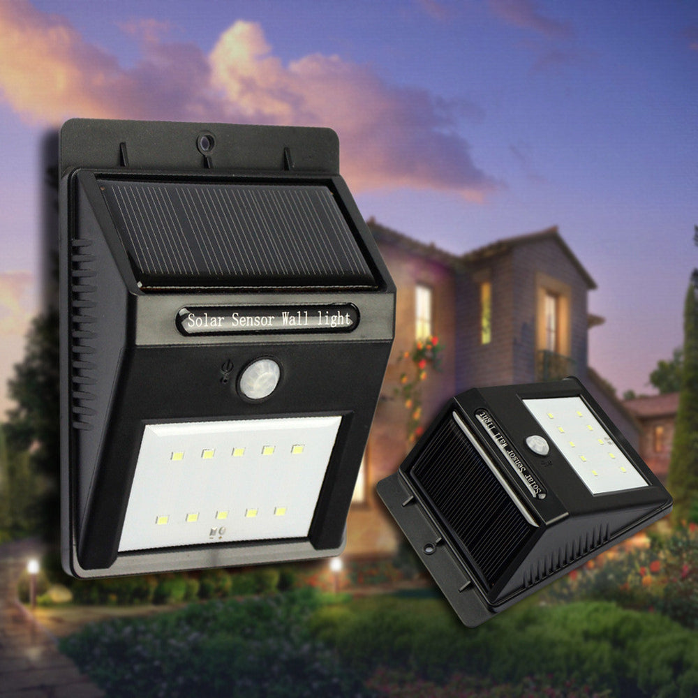 Solar Lights 10 LED Wireless Waterproof Motion Sensor Outdoor Light for Patio, Deck, Yard, Garden with Motion Activated Auto On/Off