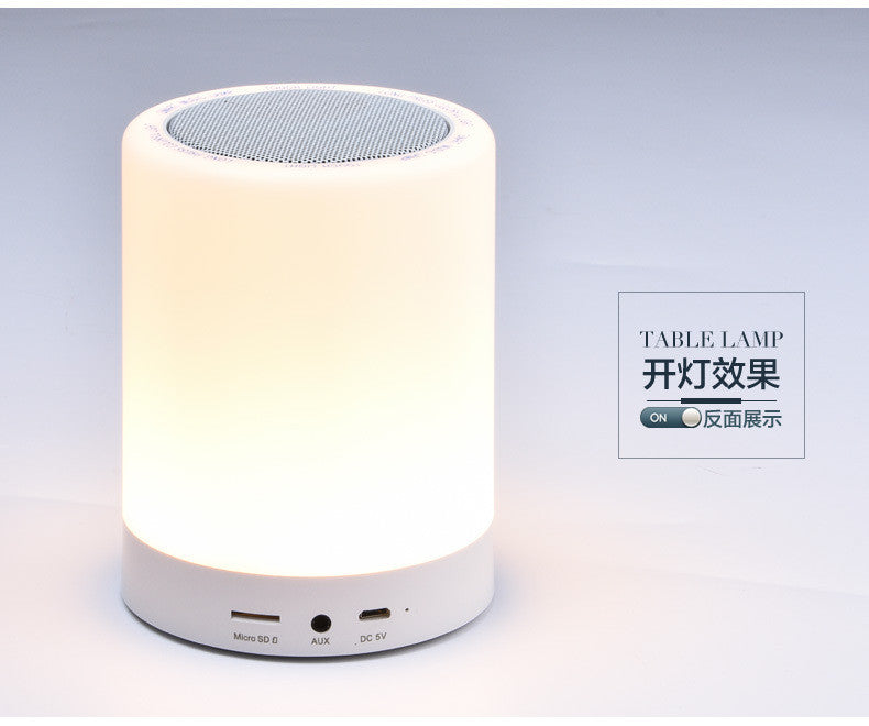 LED Bedside Lamp Music Lamp, Bluetooth 2.1, Micro SD support, FM radio, Color Changing Touch Table Lamp with Night Light, Small Portable Bluetooth Night Light Speaker Warm White