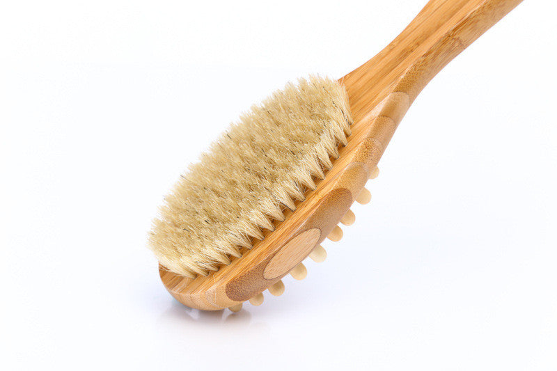 Bamboo Body Brush for Back Scrubber - Natural Bristles Shower Brush with Long Handle - Excellent for Exfoliating Skin and Cellulite - Use Wet or Dry - Suitable for Men and Women