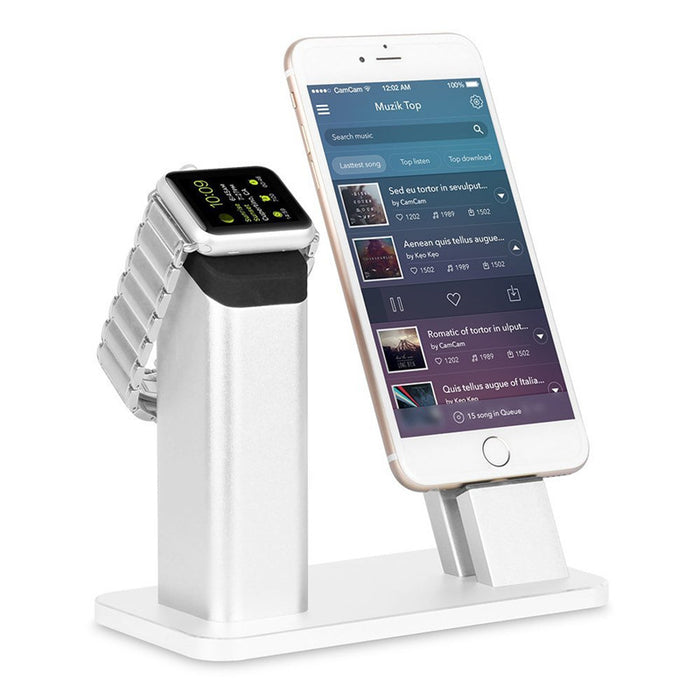Apple Watch Stand,Aluminum Apple watch iPhone Charging stand Dock Station -- Support Apple Watch 3/ 2/1 NightStand Mode and iPhone X/8/ 7/7 plus/SE/5s/6S/PLUS with Various Case(Silver)