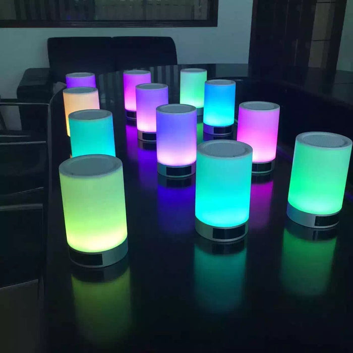 Bedside Lamp Wireless Bluetooth Speaker Portable Led Night Light, Table Bedside Lamp with Color Changing Touch Dimmable Support TF Card Speakerphone Hand-free Alarm Clock