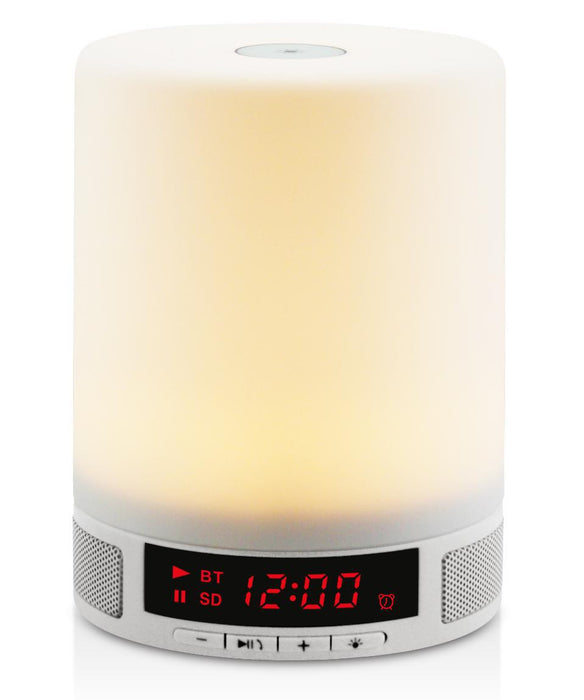 LED Bluetooth Speaker, Bedside Lamp, Touch Sensor Table Lamp, Dimmable Warm White Light & Color Changing RGB+ Multicolor Dimmable Night Light, Alarm Clock, Hands-free, Timing Function