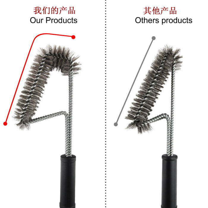 "BBQ Grill Brush, 18"" Stainless Steel Grill Brushes & Scrapers with 2 Heavy Duty Silicone Basting Brushes - Best Grill Accessories Grill Cleaning Brush for all Barbecue Lovers"
