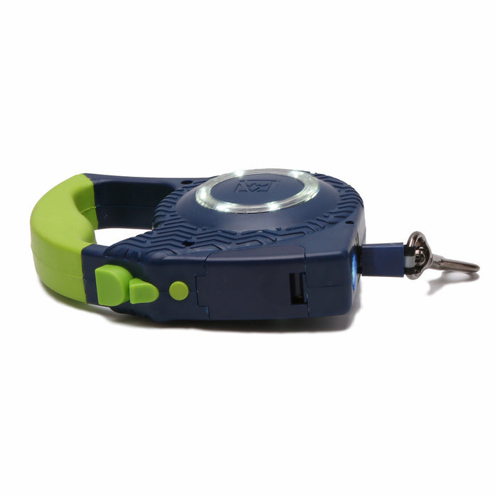 New Patented Locking Mechanism Design!  Retractable Dog Leash, Belt Leash, Ergonomic Handle, 13 Ft For Small to Middle Dog, Lucifer Yellow Leash, Innovative Reflective Silver Perimeter Leash