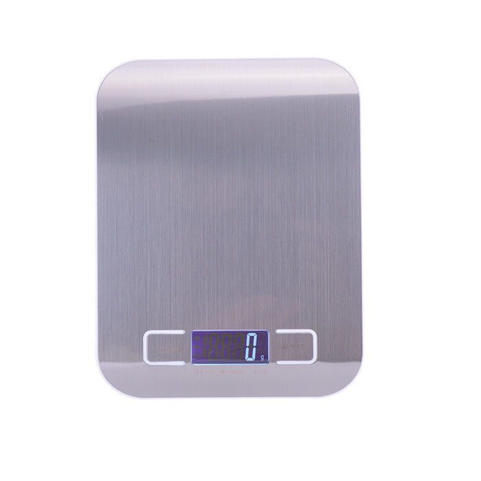 Digital Kitchen Scale Food Scale , Multifunction Stainless Steel Easy to Clean 11 lb 5 kg, Silver(Batteries Included)