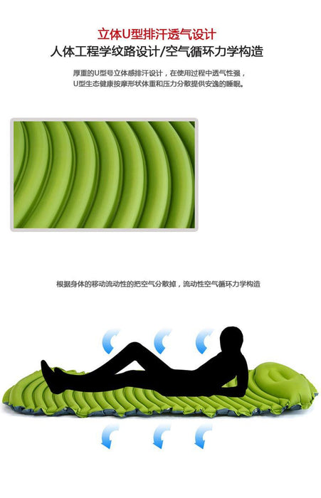 Static V Lightweight Sleeping Pad Ultralight Inflatable Sleeping Pad for Adults Camping Backpacking with Build-in Pillow and Waterproof Stuff Sack